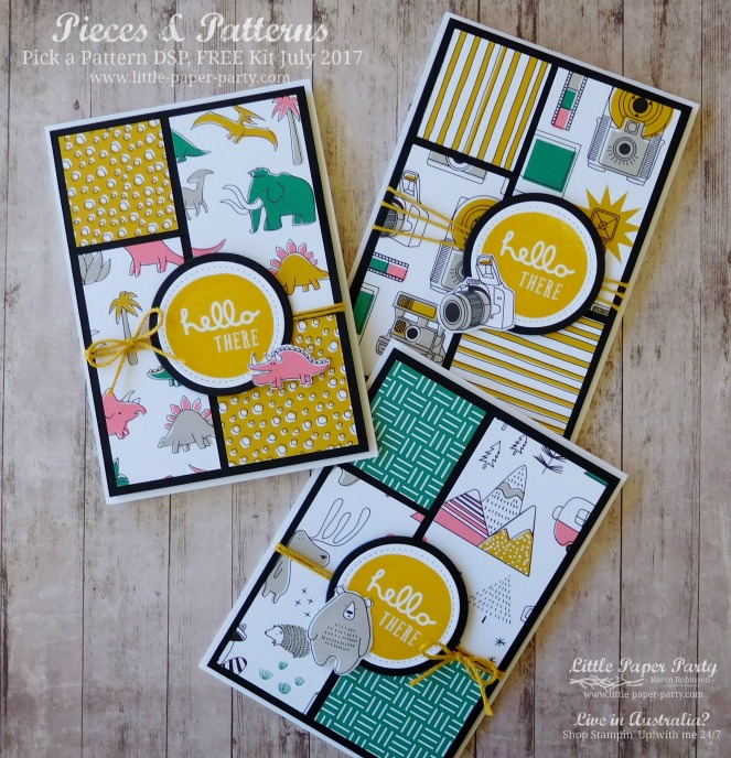 Little Paper Party, Pieces & Patterns, Pick a Pattern DSP, FREE Kit July 2017, #2.jpg
