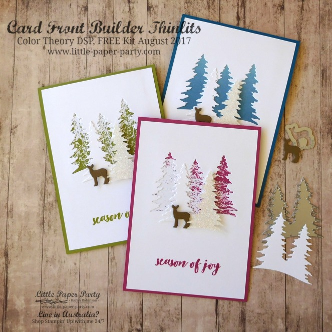 Little Paper Party, Card Front Builder Thinlits, Color Theory DSP, FREE Kit August 2017, #1