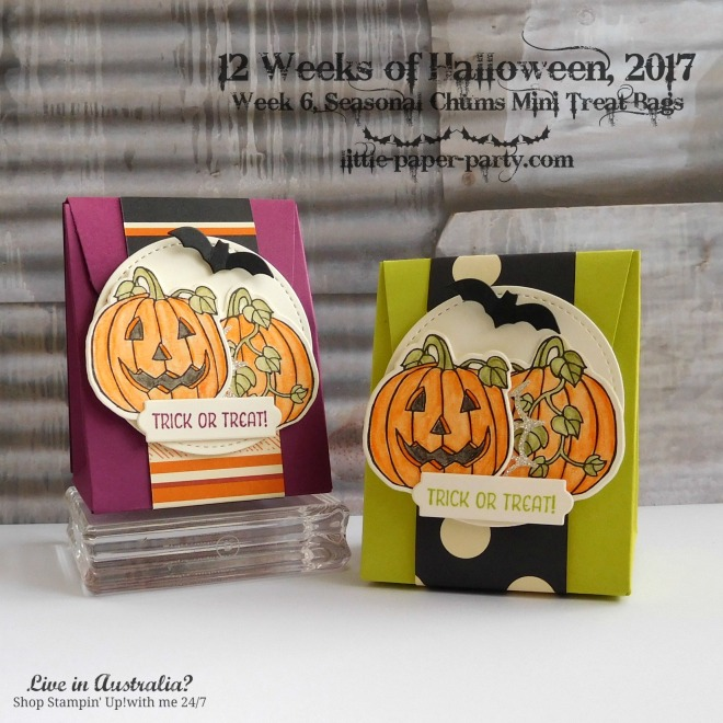 Little Paper Party, 12 Weeks of Halloween 2017, Seasonal Chums Bundle, Gift Bag Punch Board, #1