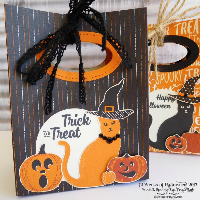 Little Paper Party, 12 Weeks of Halloween 2017, Spooky Cat Bundle, Spooky Night DSP, Gift Bag Punch Board, #4