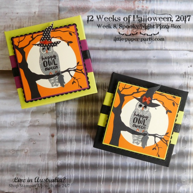 Little Paper Party, 12 Weeks of Halloween 2017, Spooky Cat, Spooky Night DSP, Pizza Box, #2
