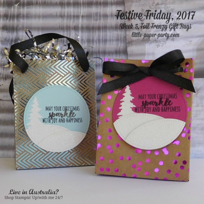 Little Paper Party, Festive Friday 2017. Foil Frenzy DSP, Christmas Pines, Gift Bag Punch Board, #1