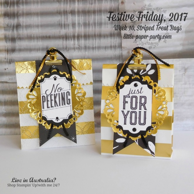 Little Paper Party, Festive Friday 2017, Striped Treat Bags, Merry Little Labels, #1
