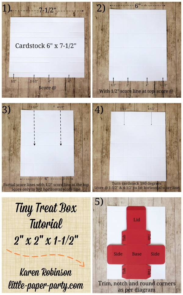 Little Paper Party, Tiny Treat Box Tutorial, 2 x 2 x 1.5inches