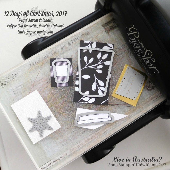 Little Paper Party, 12 Days of Christmas 2017, Advent Calendar, Coffee Cup Framelits, Labeler Alphabet, #5