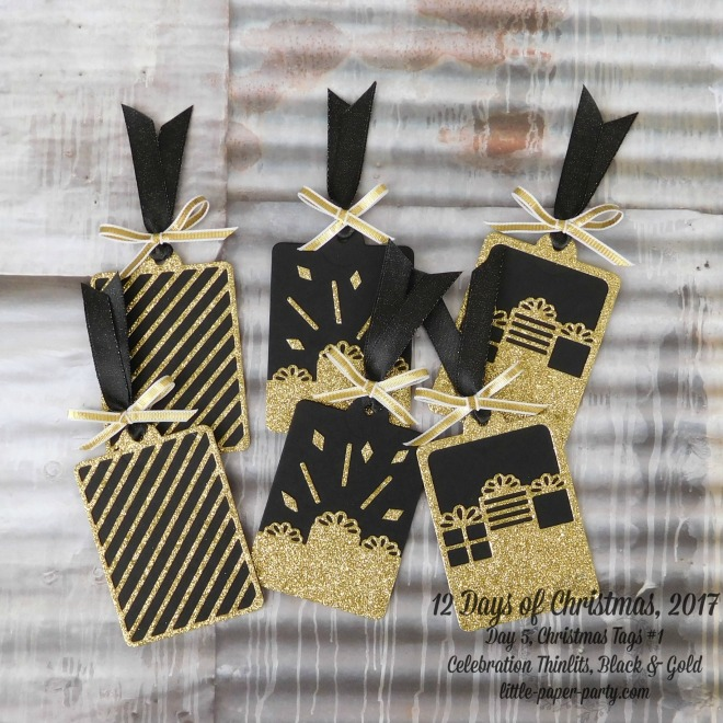 Little Paper Party, 12 Days of Christmas 2017, Celebration Thinlits, Gold Glimmer Paper, Tags #1, #1