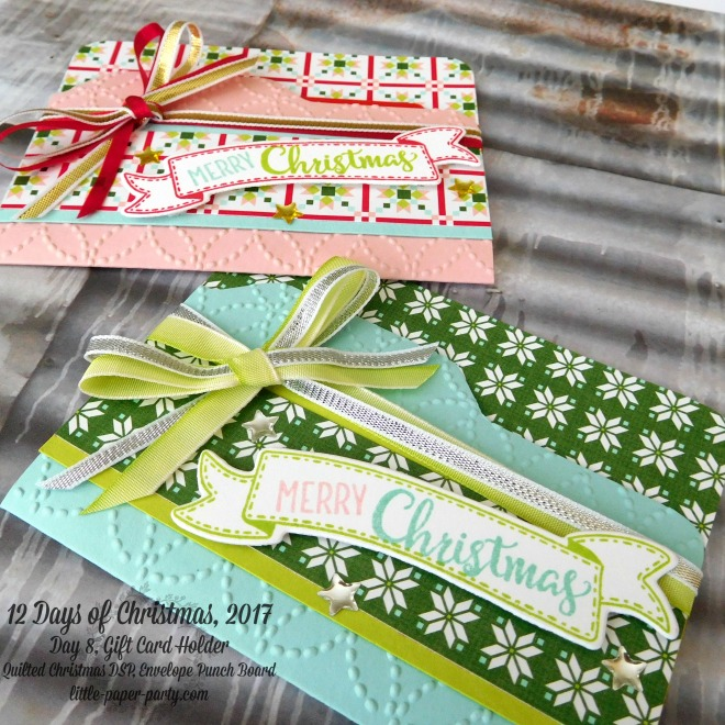 Little Paper Party, 12 Days of Christmas 2017, Quilted Christmas DSP, Envelope Punch Board, Merry Cafe, #3