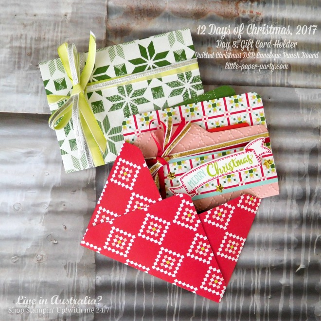 Little Paper Party, 12 Days of Christmas 2017, Quilted Christmas DSP, Envelope Punch Board, Merry Cafe, #4