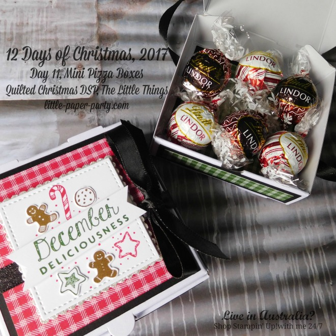 Little Paper Party, 12 Days of Christmas 2017, The Little Things, Mini Pizza Boxes, Quilted Christmas DSP, #1