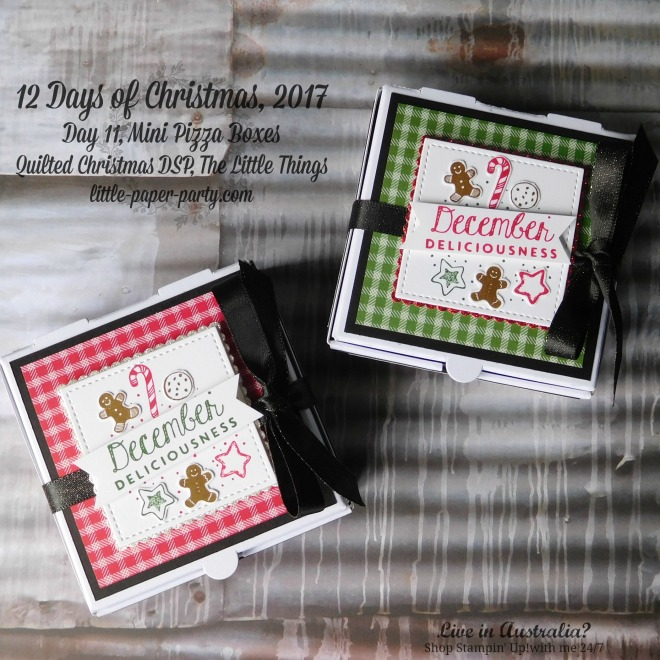 Little Paper Party, 12 Days of Christmas 2017, The Little Things, Mini Pizza Boxes, Quilted Christmas DSP, #2