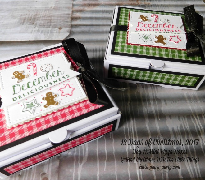 Little Paper Party, 12 Days of Christmas 2017, The Little Things, Mini Pizza Boxes, Quilted Christmas DSP, #4