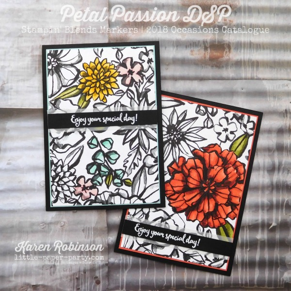 Little Paper Party, Petal Passion DSP, Stampin' Blends Markers, Dragonfly Dreams, #1