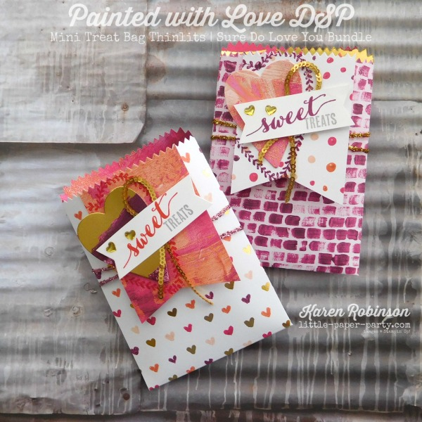 Little Paper Party, Painted with Love DSP, Mini Treat Bag Thinlits, Sure Do Love You Bundle, #1
