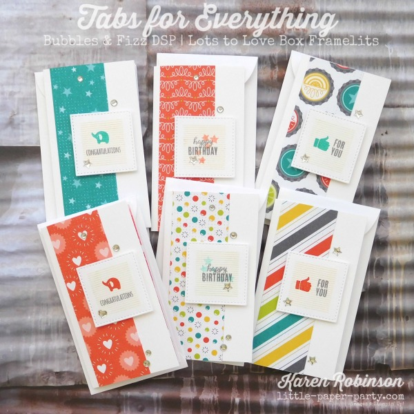 Little Paper Party, Tabs for Everything, Bubbles & Fizz DSP, Lots to Love Box Framelits, #1