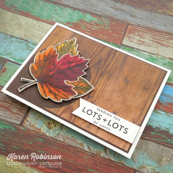 Little Paper Party, Vintage Leaves, Lots of Happy Card Kit, Wood Textures DSP, #3