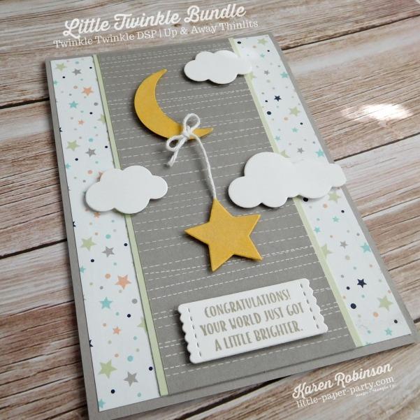 Little Paper Party, Little Twinkle Bundle, Twinkle Twinkle DSP, Wood Crate Framelits, Up & Away Thinlits, #4