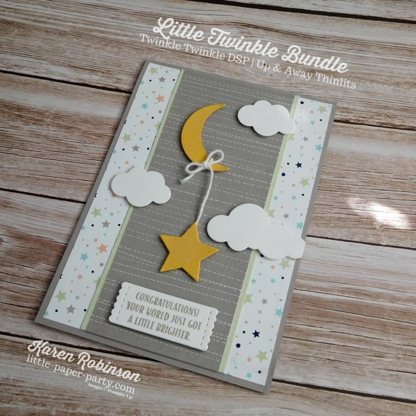 Little Paper Party, Little Twinkle Bundle, Twinkle Twinkle DSP, Wood Crate Framelits, Up & Away Thinlits, #5